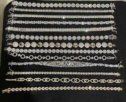 Sterling Silver Lot Of 13 Tennis Bracelets 7-8 Inch For Women  Closeout Sale