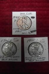 1945-p-d-s Silver Walking Liberty Half Dollar Year Set, Very Fine Condition 1