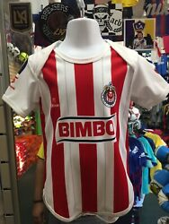 Guadalajara Home 14-15 White Red Classic Soccer Baby Suit Size M Only