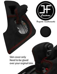 Red Stitch Shift Surround+automatic Knob Luxe Suede Cover For Toyota Supra Mk4
