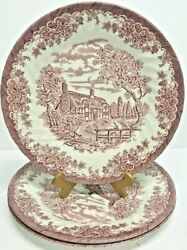 Churchill China The Brook Pink Scene Dinner Plate 10 Set Of 3