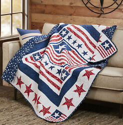Patriotic Flag Quilted 50x60 Quilt Throw American Country Red White Blue Star