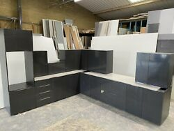 New Graphite Gloss Complete Kitchen Display With Graphite Matching Texture Units