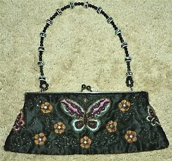 Clutch Evening Bag With Elegant Beads and Embroidery of Butterfly And Flowers $8.99