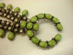 Don Lucas Sterling Silver And Gaspeite Green Stones Squash Blossom Necklace Naja