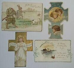 4 Ernest Nister Litho Die Cut Easter Anthropomorphic Greeting Cards Antique