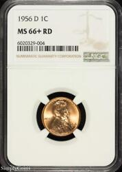 1956-d Lincoln Wheat Penny Cent Ngc Ms66+ Rd Red Plus Gem Bu B5-329-004