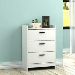 3 Drawer Dresser Wooden Chest Storage Bedroom Furniture Classic White Room Decor