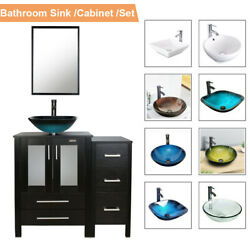 36 Black Bathroom Vanity Mirror Side Cabinet Vessel Glass/ceramic Sink Faucet