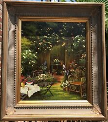 New Original Oil Painting On Canvas View Of The Backyard 30 X 34 X 3- Framed