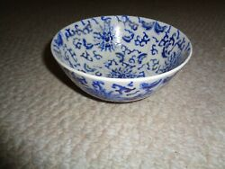 Chinese Porcelain Ware Small Soup Bowl Blue Mums Leafs Scrolls Hong Kong White B