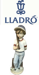 Lladro 7610 Can I Play Boy With Baseball Bat Porcelain Figurine With Box