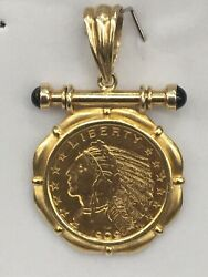 1909-d Indian Head 5 Gold Coin Set In A Custom Made Pendant 14k Gold