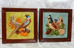 Set Of 2 1969 Ceramic 3-d Pictures Home Hobbyist Pieces Pheasants In Fall Colors