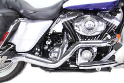 2 Into 1 Exhaust Header Set Chrome Fits Harley-davidson Motorcycles