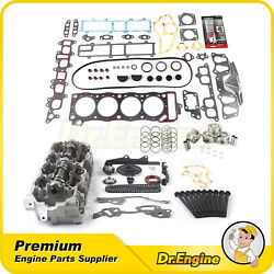 Timing Chain Kit Head Gasket Bolts Set Piston Cylinder Head Fit 85-95 Toyota 2.4
