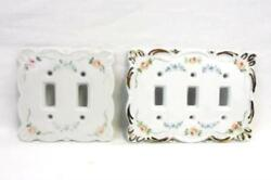 Set Of 2 Hand Painted White Ceramic Light Multi Switch Covers Pink Blue Floral