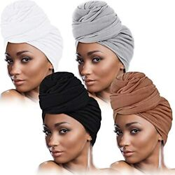 4 Pieces Head Wrap Scarf Stretch Turban For Women Long Hair Soft Band Tie Wraps