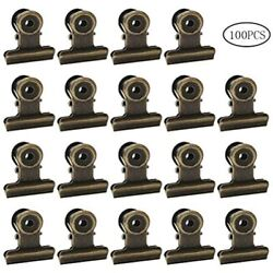 100 Pack Metal Hinge Clips Small Bulldog With Hole For Photos Tags Bags And