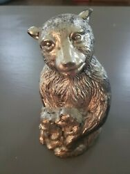 Metal Bear Bank 6 Tall Vintage, Maybe Pewter, Sold As Is