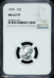1955 Roosevelt Silver Dime Ngc Ms67 Ft Fb Full Bands White R2-521-035