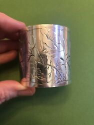 Gorham Knickerbocker Etched Engraved Sterling Silver Napkin Ring As Is Read Plz