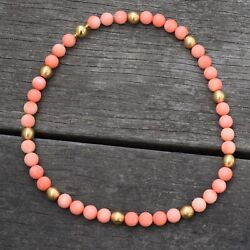 10mm Genuine Natural Round Pink Coral Bead Solid 18k Yellow Gold Necklace 65g