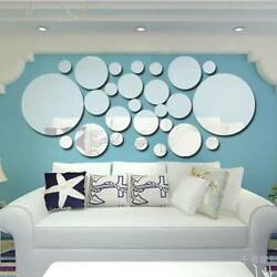 Circle Round Mirror Tiles Wall Stickers Decal Bedroom Silver DIY Home Art Decor