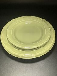 Longaberger Pottery 9 And 7 1/4 Bread Lunch Plate Sage Green Woven Traditions