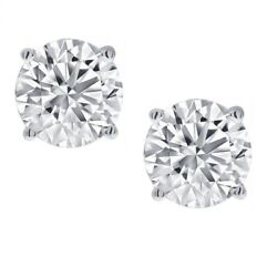 1/2ct Real Diamond Stud Earrings In 14k White Gold Screw-back Settings
