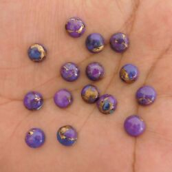 10 Pieces 10x10 Mm Round Natural Purple Copper Turquoise Cabochon Loose Gemstone