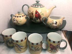 Lenox Winter Greetings Everyday Teapot Sugar Bowl And Creamer 4 Coffee Mugs / Cups