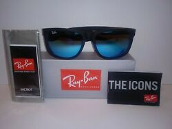 Ray Ban RB4165 622 55 JUSTIN Matte Black Sunglasses BLUE MIRROR 54mm $60.00