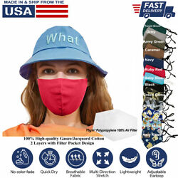 Cloth Face Mask Reusable 3d 100 Cotton Washable Adjustable Unisex Made-in-usa