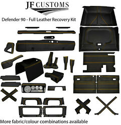 Yellow Stitch Leather Covers For Defender 90 83-06 Full Interior Upholstery Kit
