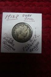 1913-p Silver Barber Quarter Sharp Very Good Conditionfull Obverse And Reverse