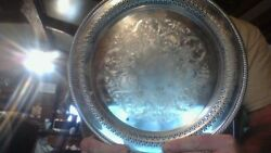 Round Silver Plated Indented Serving Tray R.w Rodgers Vintage Eligant 1920s