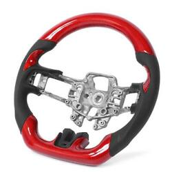 Red Carbon Fiber Steering Wheel Preforated Leather Fit For Ford Mustang V6 Uk