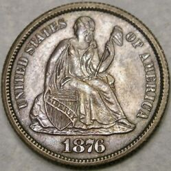1876 Cc Liberty Seated Silver Dime Gorgeous Very Rare Double Die Reverse Vp-004
