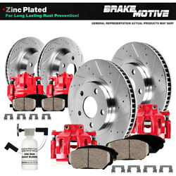 For 2005 - 2012 Nissan Xterra Front And Rear Red Brake Calipers And Rotors And Pads