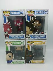 4 Fortnite Funko Pops Red-nose Raider,cuddle Team Leader,highrise And Black Knight