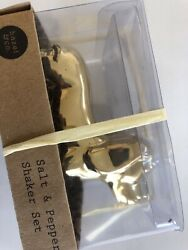New Cute Hazel And Co. Dachshund Gold Tone Salt And Pepper Shakers