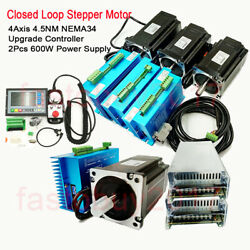 4axis 4.5nm Nema34 Closed Loop Stepper Motor Driver Kit+controller+power Supply