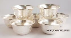 Fully Silver Plated Finely Carved Tibetan 3.5 Offering Bowls Set Patan, Nepal