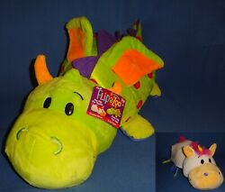 Plush Flip A Zoo Dragon and Unicorn 22quot; Topsy Turvy 2 in 1 soft animal Pillow