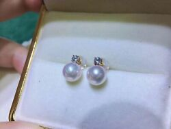 Charming Pair Of 9-10mm South Sea Round White Pearl Dangle Earring 18k