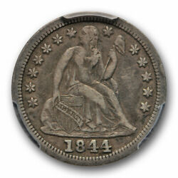 1844 10c Seated Liberty Dime Pcgs Vf 30 Very Fine To Extra Fine Toned Sharp D...