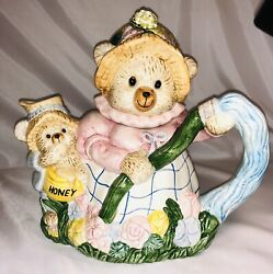 Omnibus By Fitz And Floyd Teapot Cottagecore Adorable Bears And Flowers