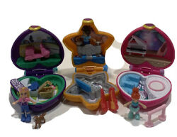 Polly Pocket 2017 Lot Of 3 Tiny Place Mini Micro Compacts Dolls Toys, Keychains