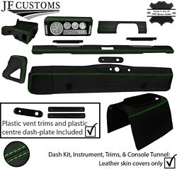 Green Stitch Leather Covers For Defender 90 83-06 Interior Reupholstery Mid Kit